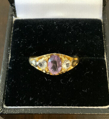 £195 • Buy Antique 18ct Gold Amethyst & Spinel Ring Size O