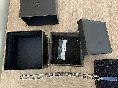 £59.99 • Buy Genuine Gucci Dog Tag Necklace With Pouch, Box & Sleeve