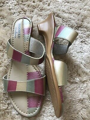 £0.99 • Buy Moshulu 41 Leather Sandals Shoes Low Wedge Pink Blue Ivory Day Evening 7 Or 7.5