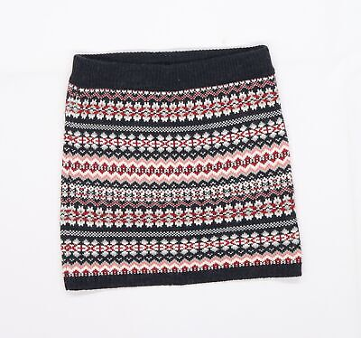 £5 • Buy Primark Womens Multicoloured Striped Knit A-Line Skirt Size 8