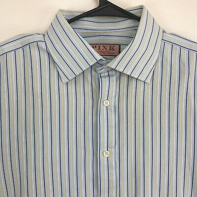 £7.22 • Buy Thomas Pink Mens French Cuff Button Dress Shirt Blue 17 / 36.5 Flaw