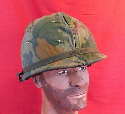 $51 • Buy Vietnam War, U.S. M-1 Helmet With Liner And Reproduction Camouflage Cover