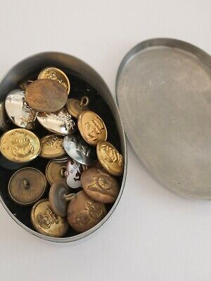 £6 • Buy Joblot Small Scottish Pewter Celtic Tin Of Military Vintage Collectible Buttons