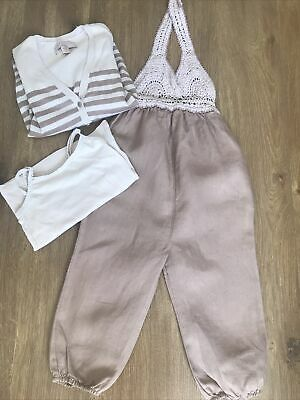 £15 • Buy Stella McCartney Designer Trousers Cardigan Vest Matching Outfit Linen Pink