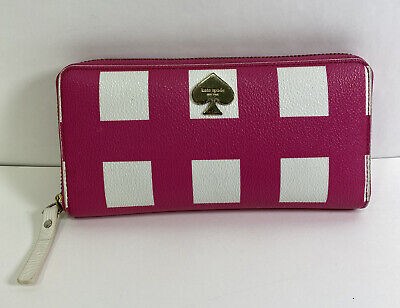 $ CDN52.16 • Buy KATE SPADE Pink White Check Zip Around LACEY Clutch Accordion Wallet