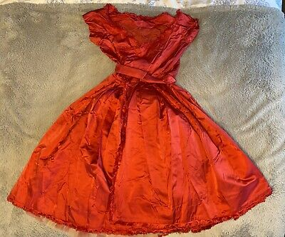 £29.99 • Buy Vintage 50s 60s Red Silk Wrap Dress With Underskirt, Steen & Strøm Norway, Small