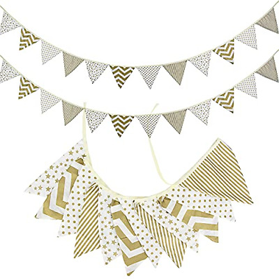£12.97 • Buy 21ft Large Fabric Bunting Banner, Gold And White Reusable Double Sided Cotton