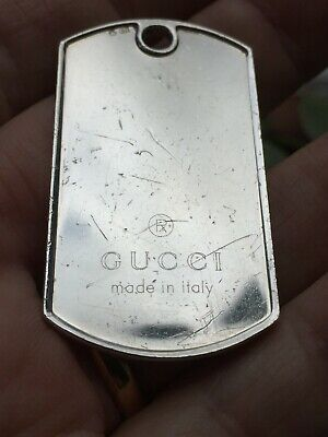 £60 • Buy GUCCI Sterling Silver Dog Tag Necklace Pendant Or Key Ring Fob