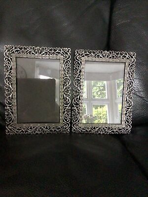 """£19.99 • Buy 2 X Floral Past Times Photo Frame Pewter Filigree Frame 7.5""""X5.5"""" Photo 6""""x4"""""""