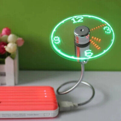 AU13.47 • Buy USB Fan Portable Flexible LED Clock Cool For Laptop Real Time Display