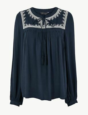 £19.99 • Buy Ex M&S Boho Emboidered Tunic Top Blouse SIZE 18 Peasant Top Light Summer Autumn