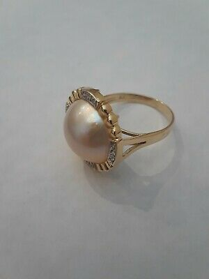 $56 • Buy Mabe Pearl Diamond 14K Yellow Gold Ring Signed S.C. Size 7.25 NR!