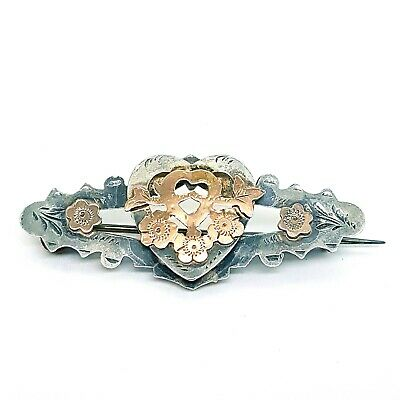 £39.99 • Buy Victorian Sterling Silver Sweetheart Brooch - Rose Gold Heart & Forget Me Knot -