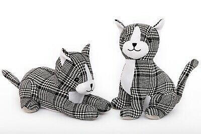£11.99 • Buy Black White Gingham Fabric Cat Animal Heavy Filled 1.5kg Weighted Door Stop Deco