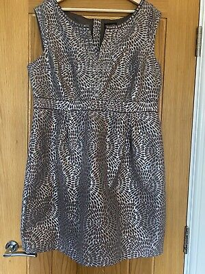 £35 • Buy Principles Dress - Taupe With Silver Metallic Pattern & Bead Embellished Size 18