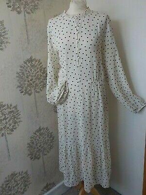 £7 • Buy M&S Ivory Spotted Elastic Waist Long Sleeve Button Front Tiered Midi Dress 18
