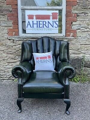 £400 • Buy Vintage Green Leather Chesterfield Wing Back Chair FREE DELIVERY 🚚*