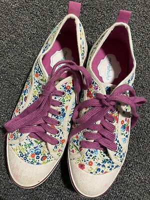 £6.99 • Buy Moshulu Ladies Floral Canvas Pumps Sneakers  Trainers Flat Shoes Size Uk 4 Eu 37