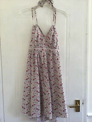 £18 • Buy Laura Ashley Archive Dress Size 12 Cream Floral Strappy Sun Dress