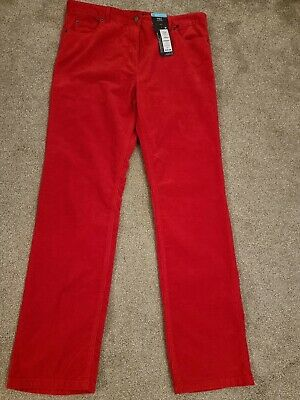 £5 • Buy M & S Red Cord  Straight Leg Trousers Size 14 Nwt