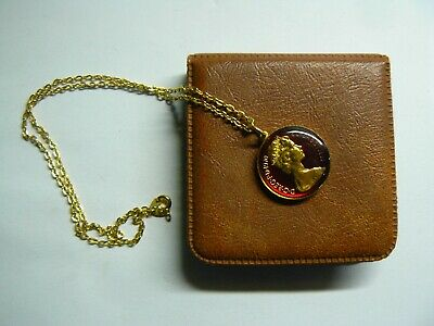 £22 • Buy 1970 Gold Plated & Enamel 5 Pence Coin Pendant & Gold Plated Necklace And Box