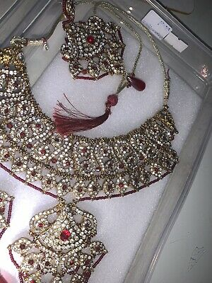 £9.99 • Buy Indian Bollywood Jewellery Set Gold & Pearl With Matching Tikka And Earrings