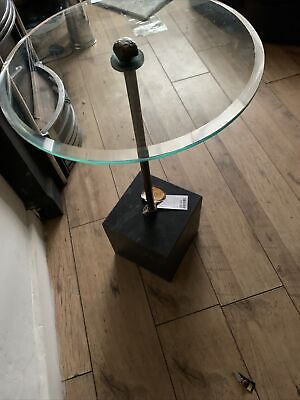 £29.99 • Buy Decorative Side Or Plant Table Solid Black Marble Base Glass Top 25.5 High
