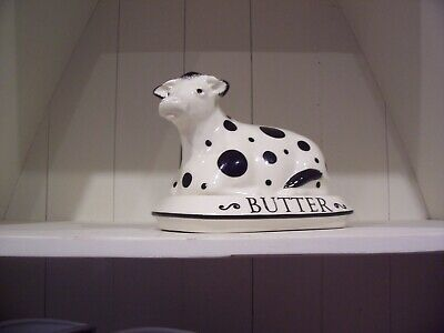 £15 • Buy Black And White Cow Butter Dish - Fairmont & Main - Excellent Condiion
