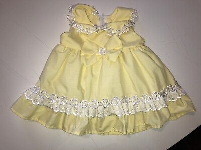 £7.50 • Buy Spanish Style Yellow Baby Dress Retro Look 3-6 Months Worn Once