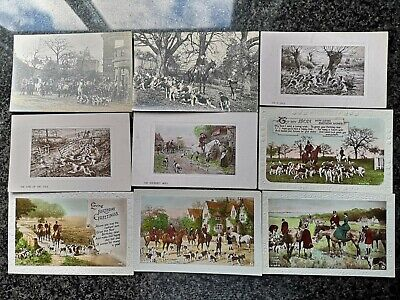 £32 • Buy 40 X Old Vintage Postcards Showing Fox Hunting Hounds Horses Art Type Some Used