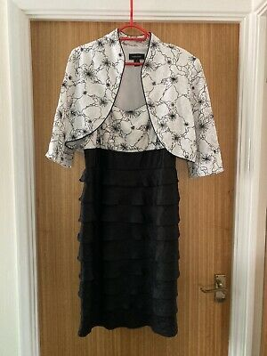 £5.50 • Buy Black And White Cocktail Dress With Jacket Size 14