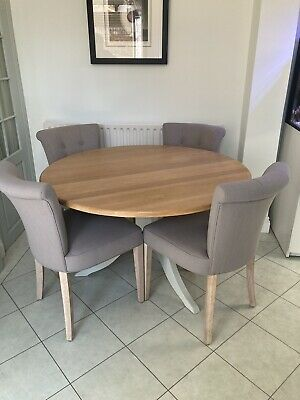 £95 • Buy Neptune Wooden Chichester Dining Table With Four Matching Chairs In Grey / Green