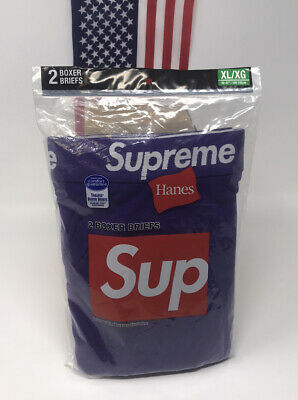 £49.68 • Buy Supreme Hanes Boxer Briefs Purple XL (2 Pack) SS21 NEW Unopened