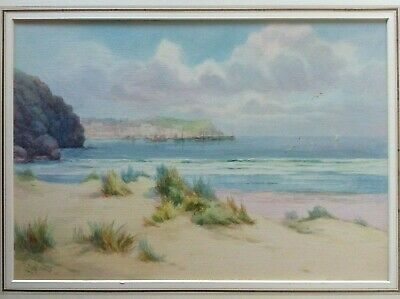 £125 • Buy St Ives From Porthkidney Beach, Cornwall, Watercolour, Lewis Mortimer C. 1900