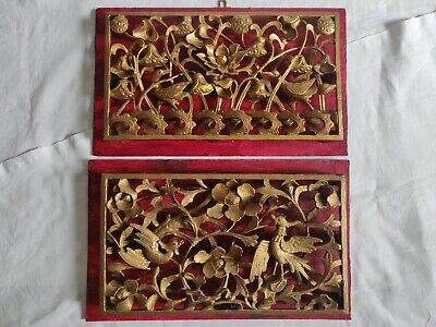 £329 • Buy Two Antique Chinese Carved Wood Panels Deep Carving/ Gold & Red/ Flowers & Birds