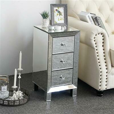 £79.99 • Buy Mirrored Glass Bedside Table Modern Cabinet 3 Drawers And Crystal Handles