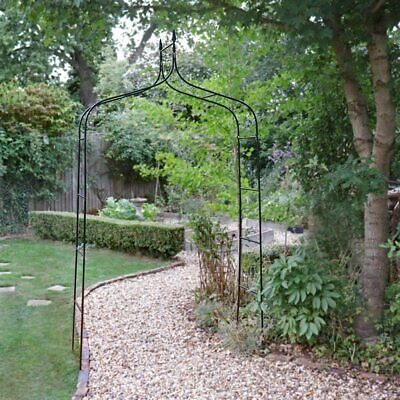 £19.99 • Buy Garden Arch Metal Heavy Duty 2.5m Black Strong Tubular Arbour For Roses Climbing