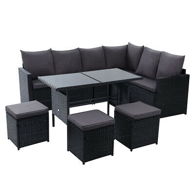 AU807.37 • Buy Outdoor Furniture Dining Setting Sofa Set Wicker 9 Seater Storage Cover Black