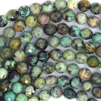 $ CDN13.35 • Buy Faceted African Turquoise Round Beads 15.5  Strand 4mm 6mm 8mm 10mm 12mm 14mm