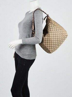 AU299 • Buy GUCCI Beige/Pink GG Canvas Bamboo Bar Hobo Bag, With Original Gucci Dust Bag