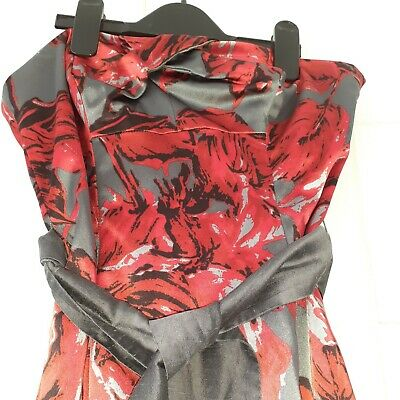 AU4.61 • Buy Women's Special Occasion Dress By Coast Size 8 Grey Satin Red Roses Strapless...
