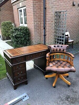 £795 • Buy Brown Leather Chesterfield Captains Chair & Writing Desk & Glass Cover & Key