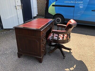 £775 • Buy Oxblood Red Leather Chesterfield Captains Chair & Writing Desk Leather Top & Key