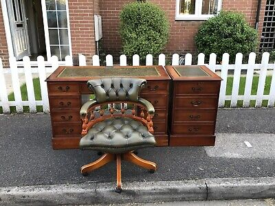 £895 • Buy Green Leather Chesterfield Captains Chair & Writing Desk & Filing Cabinet & Key