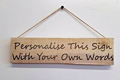 £7.95 • Buy Personalised Sign Wooden Plaque Pallet Wood Customised Wall Door Hanging Gift