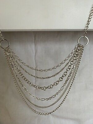 £15 • Buy Multi Chain Silver Long Body Necklace - Freedom Jewellery
