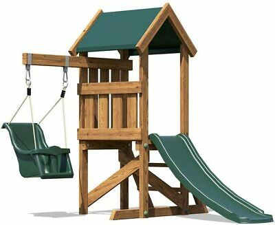 £85 • Buy Dunster House Wooden Toddlers Outdoor Climbing Frame With Baby Swing & Slide