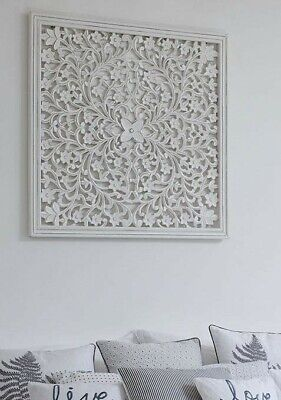 £99.95 • Buy BNIB Retreat Large White Hand Carved Panel Wooden Wall Art (Size 75 X 75cm)