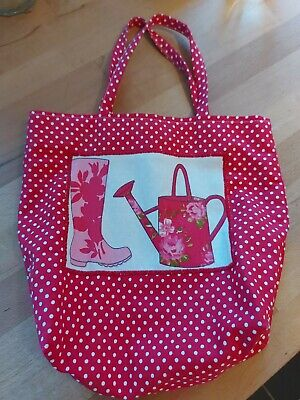 £3.50 • Buy Pink Spotty Fabric Mini Tote Bag With Welly & Watering Can Image