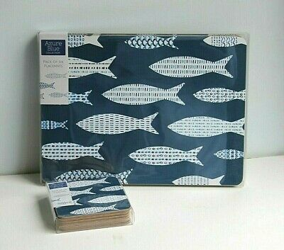 £16.95 • Buy 6 Placemats & 6 Coasters Set  Navy Blue & White Fish Design